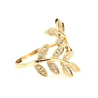 14KT YELLOW GOLD WRAP LEAVES RING WITH WHITE PAVE DIAMONDS