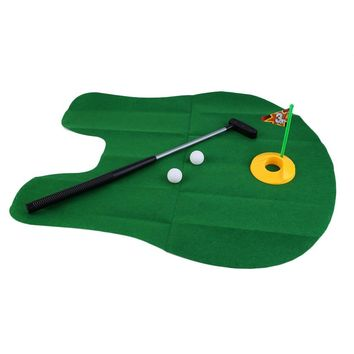 Funny Potty Putter Toilet Time Mini Set Toilet Golf Game Novelty Gag Gift Toy Mat Helps Improve Putting Golf Training&Practice