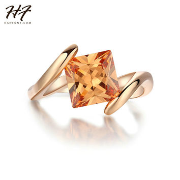 Square Orange Crystal Rings18K Rose Gold Plated Fashion Brand Yellow CZ Diamond Jewelry Halo Engagement Rings Bijoux R419