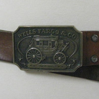 Vintage 70s leather belt Well Fargo Buckle 1973 FF581