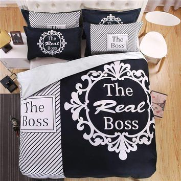 """The Real BOSS"" Bedding Set for Couple Duvet Cover Sheet Pillowcase"