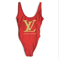 LV Louis Vuitton 2018 Women Sexy Fashion Siamese Bikini Swimsuit F-ZDY-AK Red