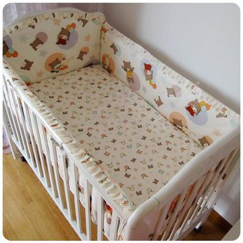 Promotion! 6PCS 100% cotton baby bed set cot nursery bedding kit bed around (bumper+sheet+pillow cover)