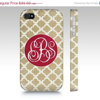 SALE Monogram Clover - Iphone 4, 4s, 5 & Samsung Galaxy s3, S4 Case / cover - Chic, gift, Luxe, Pattern, tan, neutral, classic, monogrammed