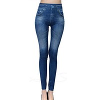 Slim Women Leggings Faux Denim Jeans Leggings Sexy Pocket