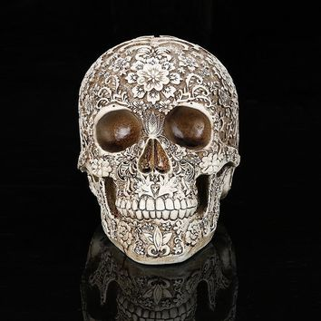 Skull Skulls Halloween Fall Creative Resin Carved  Statues Flower Pattern Desk Decor Toy Birthday Gift Home Halloween Party Decoration Dropshipping Calavera