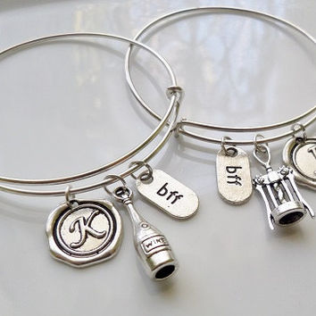Best friend bangle bracelet, Bottle wine bangle bracelet, wine opener charm bracelet, initial bangle bracelet, best friend gifts