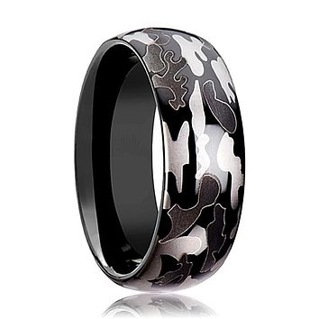 Tungsten Camo Ring - Black and Gray Camo  - Tungsten Wedding Band - Polished Finish - 8mm - Tungsten Wedding Ring