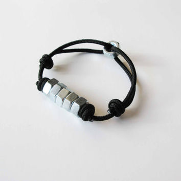 Multi Hex Rope Bracelet Black by AllBeta on Etsy