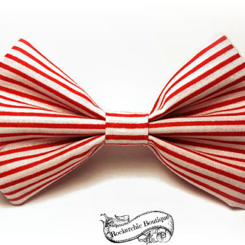 Nautical Striped Hair Bow - Red, White, Fabric - Womens, Adult, Teen - Rockabilly, Pin Up, Sailor - Candy Stripe, Hair Bow Clip