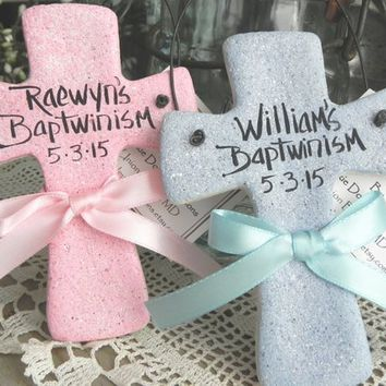 Twins Baptism Gift Crosses Set of 2 Personalized or Plain Salt Dough Ornaments / White, Pink or Baby Blue
