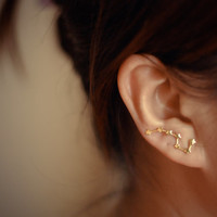 Big Dipper gold plated sterling silver ear pins