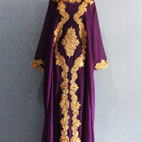 Gold Embroidery Purple Caftan Dress for Wedding Bridesmaid Party Summer Maxi Kaftan Dress Fancy Maternity Dress
