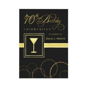 70th Birthday Party Invitations - Gold and Black from Zazzle.com