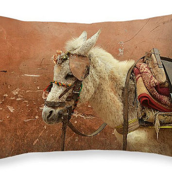 Ethnic Pillow, Donkey, Pack Mule, Sand, Brown, Morocco, Travel Cushion, Earth Colors, Rustic, Ethnic Home Decor, Boho, Horizontal, 20x14