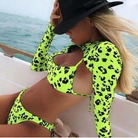3pc/set Long Sleeve Bikini Leopard Swimsuits For Women Padded Swimwear Women Bathers Swimming Suit Female Beachwear 2019 Summer
