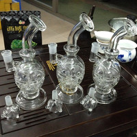 Glass Bongs Water Pipes Recycler Filter Percolators Smoking Two functions 2015 New Hookah Faberge Egg Waterpipe with birdcage perc 14.5mm