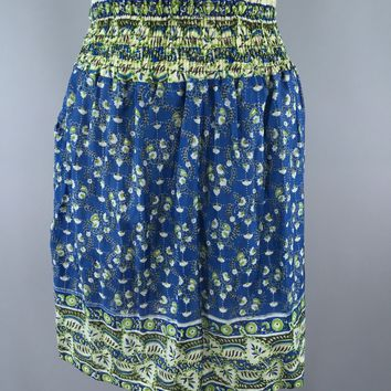 Indian Cotton Skirt / Blue Floral Print / Size Small to Medium
