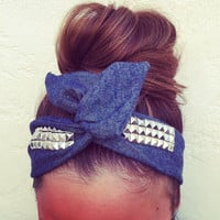 Denim Studded Dolly Bow Headband by DarlingtonJewels on Etsy
