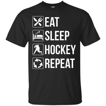 Funny Eat Sleep Hockey Repeat T-Shirt