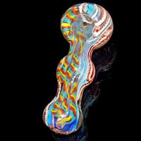 Colorful Hand Blown Inside Out Rainbow Silver Fumed Glass Spoon Triple Ball Color Changing Smoking Pipe