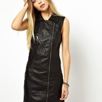 Noisy May Faux Leather Biker Dress