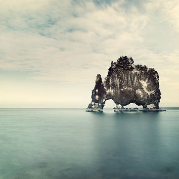 Iceland Rock Formation, Minimal Landscape Photography, Nature, Nautical Summer Blue Ocean Sea - The Elephant in the Water