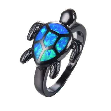 Blue Fire Opal Black Gold Turtle Ring