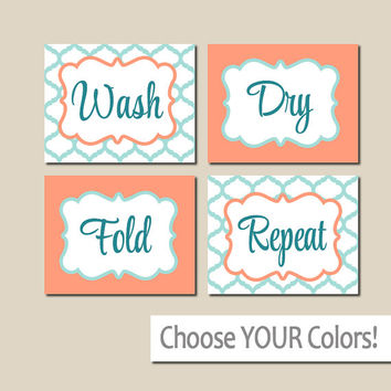 LAUNDRY Wall Art, CANVAS or Prints Aqua Coral, Wash Dry Fold Repeat, Laundry Room RULES, Choose Colors, Set of 4 Quatrefoil Home Decor