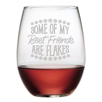 Best Friends Are Flakes Glasses - Set of 4