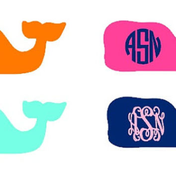 Vineyard Vines Inspired Monogram Decal, Custom Whale Monogram Decal