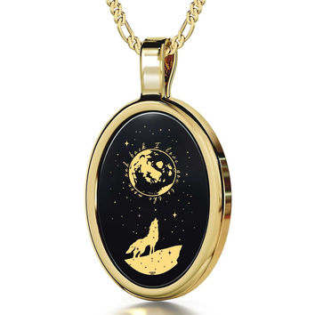 """I Love You to the Moon and Back"", 14k Gold Necklace, Onyx"