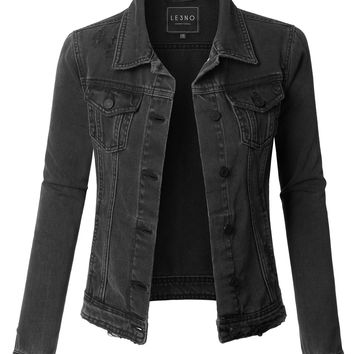 LE3NO Womens Vintage Washed Long Sleeve Ripped Distressed Black Denim Jacket