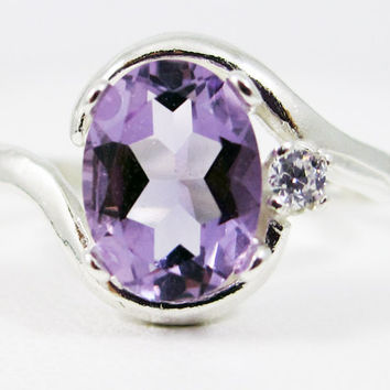 Lavender Amethyst Oval and White CZ Accent Ring, 925 Sterling Silver, February Birthstone Ring, Lavender Amethyst Sterling Oval Ring