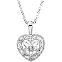 "Sterling Silver & Diamond Filigree Heart 18"" Necklace"