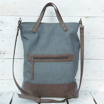 grey tote bag leather canvas foldover crossbody daybag / gray 2 tone tote Gift for her