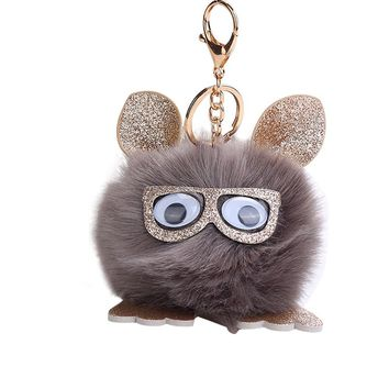 10CM Cute Owl Pendant Women Key Ring Holder Pompoms Key Chains