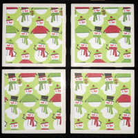 Tile Coasters, Coasters, Drink Coasters, Holiday Decor, Holiday Coasters,  Christmas Snowman Printed Tile Coasters- Set of 4