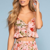 You Had Me At Hello Floral Lace Up Crop Top - Blush