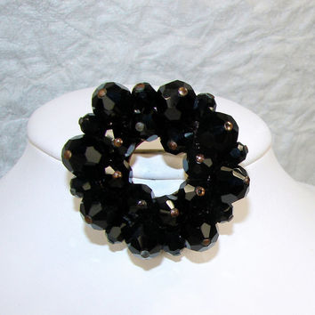 Jet Black Crystal Brooch Cluster Bead Pin 1950s Vintage Costume Jewelry Swarovski Beaded Wreath Mourning