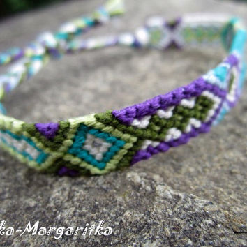 Friendship bracelet woven violet turqouse green white khaki. best fiend gift. boyfriend gift. girlfriend gift. aztec. surfer. love. hippie