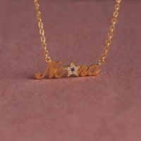 Custom Name Necklace With Star - Diamond Name Necklace - Simple Gift - Sterling Silver