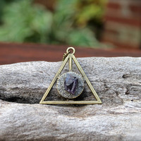 Pyrite & Amethyst Necklace - Pyramid Jewelry -  Boho Chic - Triangle Necklace - Amethyst Jewelry - Gypsy Boho Jewelry - Bohemian Necklace