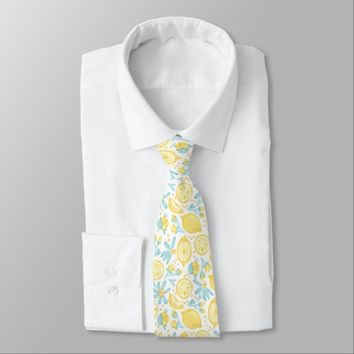 Yellow Lemons & Pastel Blue Flowers Pattern Neck Tie