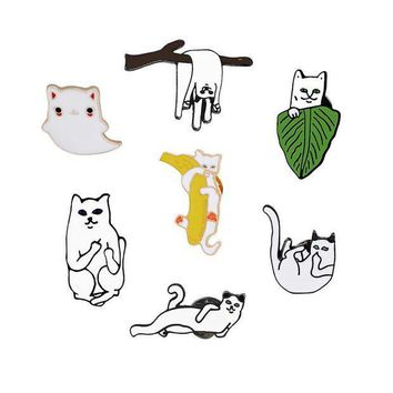 ac PEAPO2Q 7 Style Cartoon Cute Funny Cat Enamel Brooch Creative Personality Cats Animal Brooches Pin Collar Sweater Hat Decoration Jewelry