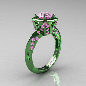 Classic French Military 14K Green Gold 1.0 Ct Light Pink Sapphire Engagement Ring Wedding Ring R502-14KGGLPS