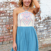 Back from Mexico Halter Dress {Blue}