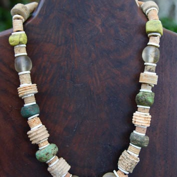 Ancient Fossil Necklace Rustic Distressed Crinoids with Green and Yellow Hebron Trade Bead Ethnic Boho Jewelry