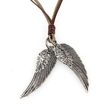 100% Genuine Leather Necklace Punk Vintage Leather Jewelry Men Women Angel wings Pendant LSXL4