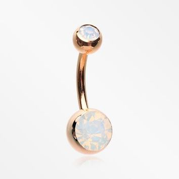 Rose Gold Opalite Double Gem Ball Steel Belly Button Ring